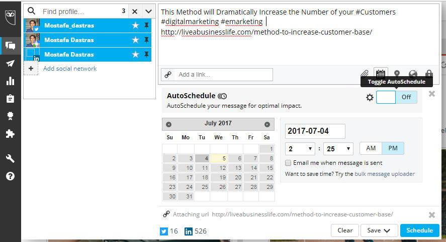 Hootsuite add social network schedule