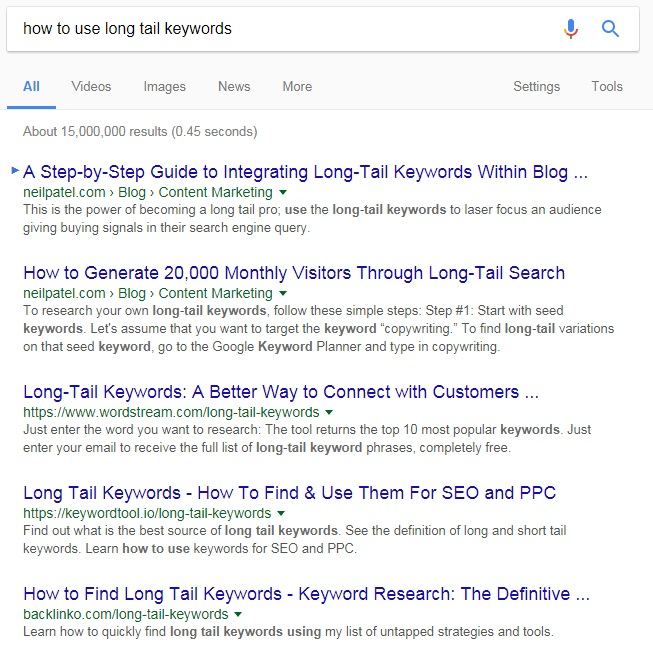 How to use long tail keywords results page