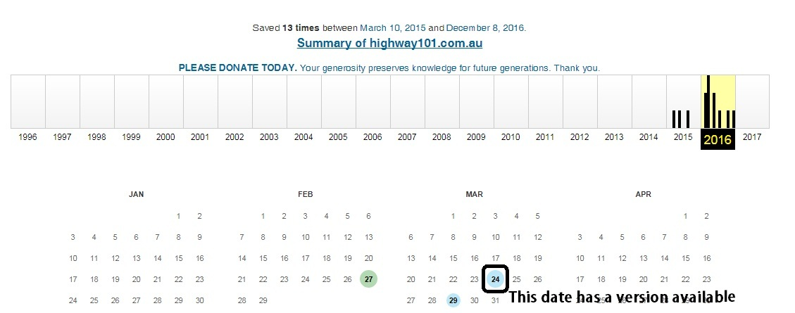 Archive webpage calendar