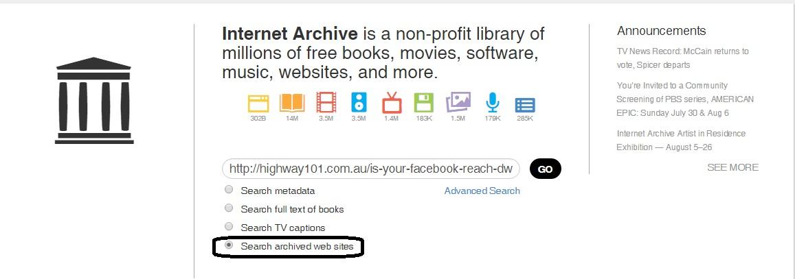 Archive webpage