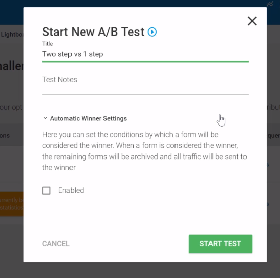 Run ab tests settings